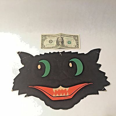Vtg HALLOWEEN Die Cut Embossed BLACK CAT Face Fangs H.E. LUHRS Made USA Beistle