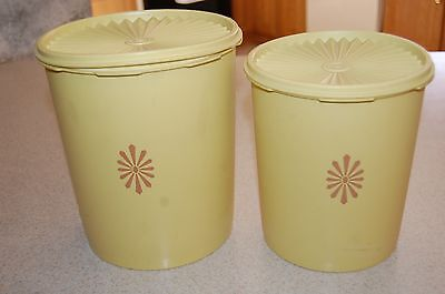 TUPPERWARE Vintage Harvest Gold Servalier Canisters Set Of 2 With Lids Retro