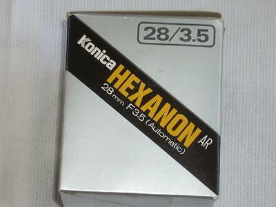 SUPER Nice Konica Hexanon 28mm F3.5 Wide Angle Lens w/ Caps and Case LN in Box