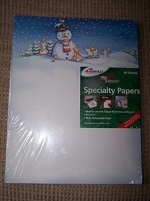 "PC Specialty Papers 60 8.5"" x 11"" Acid Free SHEETS - Snowman Winter  NEW"