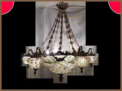 Vintage Antique French Empire Basket Brass Bronze Chandelier Very Large Rare
