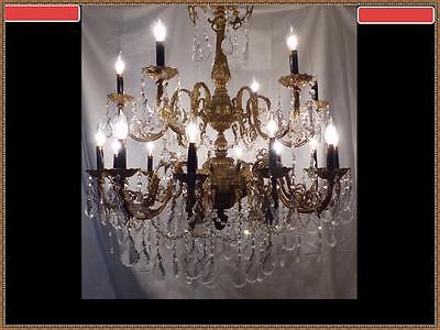 Vintage Antique French Solid Heavy Brass & Crystal Chandelier Very Large RARE!