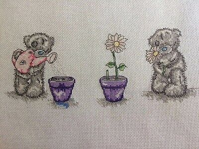 Tatty Teddy Completed Cross Stitch with flowers