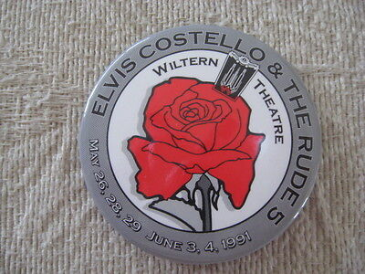 """Elvis Costello & The Rude 5 """"Mighty Like A Rose"""" PROMOTIONAL Wiltern Concert Pin"""