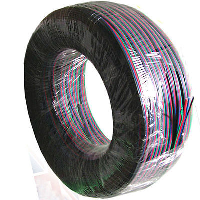 2-50M 4 Pin Extension Connector Cable Wire for 3528 5050 RGB LED Strip Lights UK