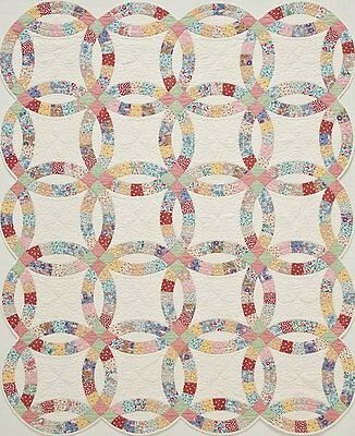 'Quilt in a Box' Double Wedding Ring Pre Cut Quilt Kit 1930s Reproduction Fabric