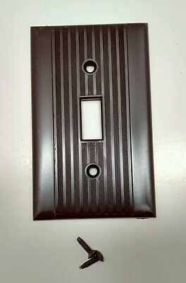 Vintage Brown Ribbed Single Gang Reliance Light Switch Cover With Screws