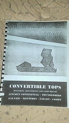 Ford Service Handbook 20801 Convertible Tops 1962