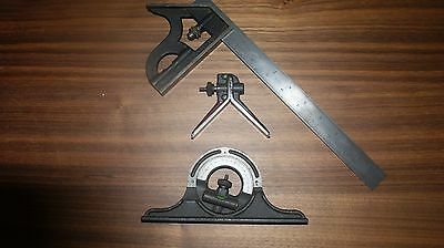 L.S. Starrett No. 4 GRAD 4 piece Combination Square with Protractor
