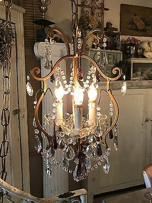 Beautiful Antique Chandelier Dripping In Stunning Crystals