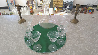 Decanter and 8 Crystal Etched Wine Glasses