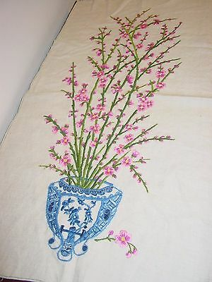 Oriental Motif Floral, Finished Wall Art Crewel Embroidery
