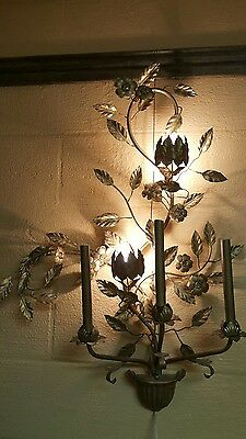 "Vintage  32"" Five Light Gilt Metal Wall Sconce Elaborate Floral Italian?"