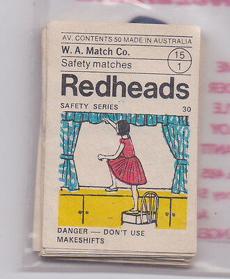 W.A. MATCH CO REDHEADS  matchbox labels SAFETY 85 duplicated
