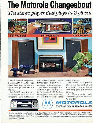 1971 Motorola Changeabout TM718S 8 Track Stereo Player For Home Car and Boat Ad