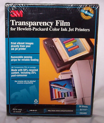 3M Transparency Film for HP Ink Jet Printers, CG3460, New, Factory Sealed, 50 sh