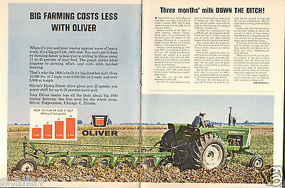 1964 2 Page Print Ad of Oliver 1800 Farm Tractor