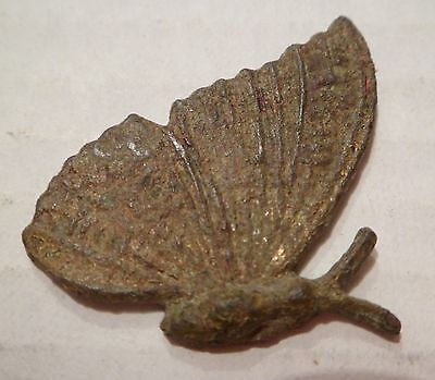 Ancient Bronze Roman Gold-Plate Butterfly At Rest. A Very Rare Brooch.