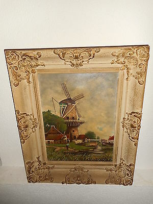 Old oil painting, Landscape with a windmill near a river, is signed and antique!
