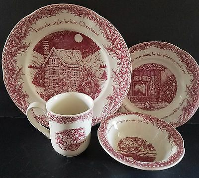 Johnson Brothers Twas the Night Before Christmas Dinnerware Serving For 4 New
