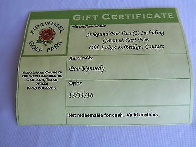 Gift Certificate For A Round Of Golf For Two Including Green & Cart Fees (Texas)