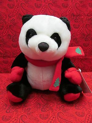 "Adorable!  Hallmark Promotion Panda Bear Plush W/ Red Mittens & Scarf 10"" Nwt!"