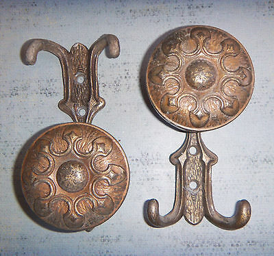 PAIR -  Beautiful Vintage Highly Detailed Ornate Coat Hat Brass HOOKS