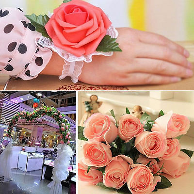 50PCS Artificial Roses Silk Flower Heads DIY Small Bud Party Wedding Home Decor