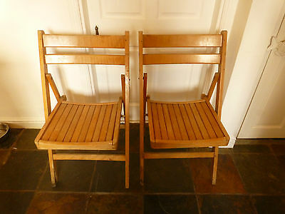 Vintage Folding Wooden Cricket Village Hall Type Chairs