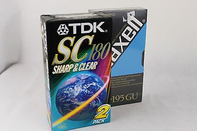 TDK SC-180min Blank VHS Video Tapes x 2 AND Maxell E-195 - New & Sealed