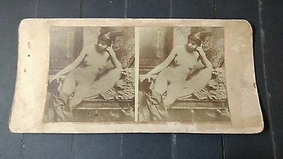 Nude Stereoview Card Woman Contemplating Early 20Th Century Z2.12
