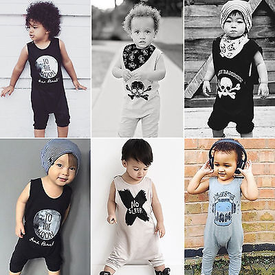 Newborn Baby Boy Girl Sleeveless Romper Bodysuit Jumpsuit Clothes Outfits 0-24M