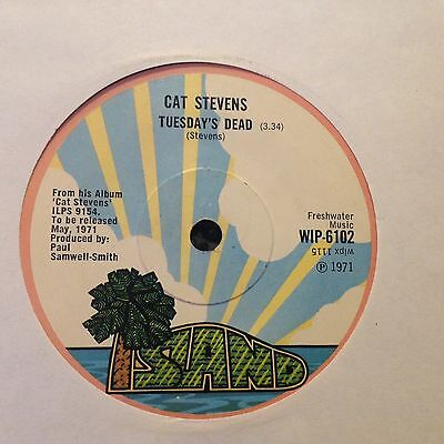 Cat Stevens - Tuesday's Dead 1971 Uk Single Island Records  Ex Con