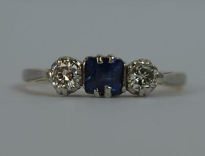 Art Deco Sapphire and Diamond 18ct Gold Trilogy Ring c1930's d0587