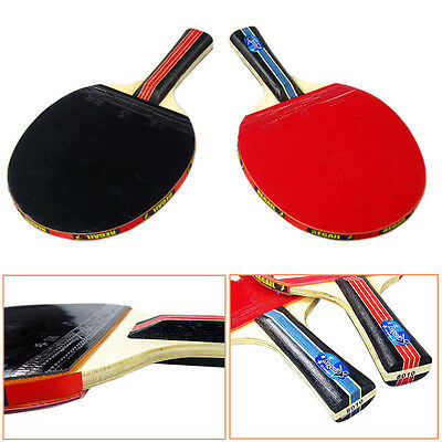 New Table Tennis Set 1 Pair Ping Pong Racket Long Handle Bat Paddle + Bag