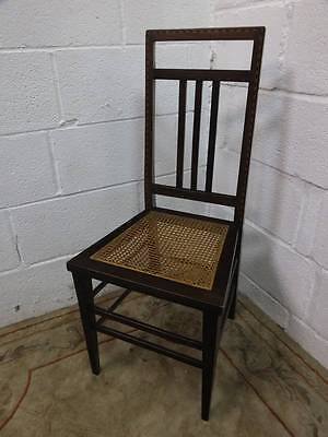 Edwardian Mahogany Bedroom /hall Chair, Inlaid Backrest Design, Wicker Seat • £15.00