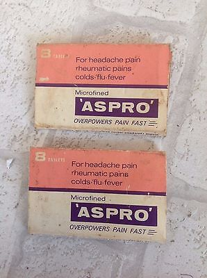 Vintage 1960's Aspro Cardboard Packets x 2 Prop Chemist Collectable