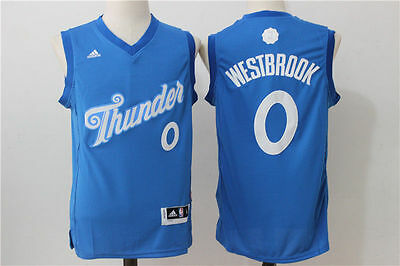 16-17 Christmas Oklahoma City Thunder # 0 Russell Westbrook Blue Swingman Jersey