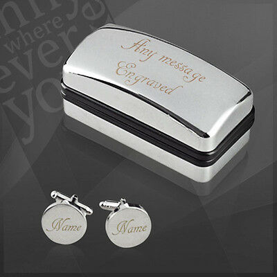 Personalised Satin Bevelled Cufflinks in Engraved Case