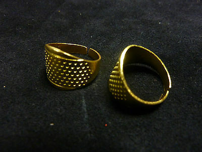 """2""THIMBLES GOLD TONE TAPERED ADJUSTABLE finger  Sewing Craft Quilting Darning"