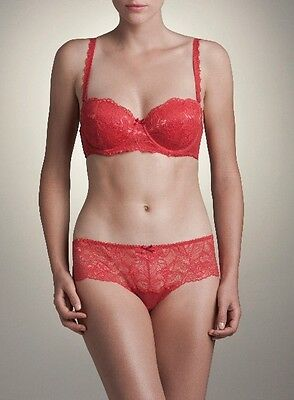 Pretty Red Lace Padded Bra Size 32C with Matching Thong