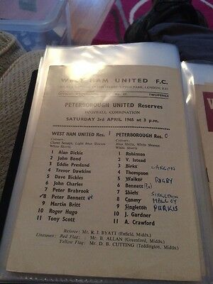 West Ham  Reserves V Peterborough Reserves 64/65