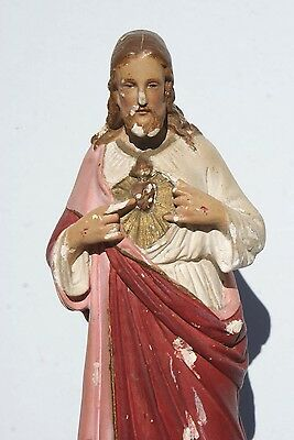 Vintage French PIERACCINI Jesus Religious Statue Plaster Christmas Decoration