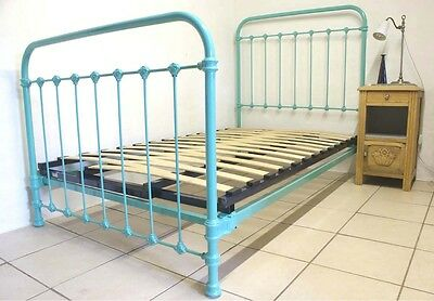 French Large Single Metal Iron Turquoise Blue Bed & Base 3 ft 9″ RENOVATED