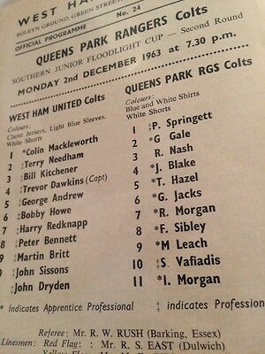 West Ham V Queens Park Rangers SJFC 63/64