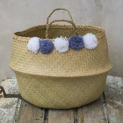 Large Grey & White Pom Pom Belly Basket. Seagrass Planter Toy Laundry Toulouse