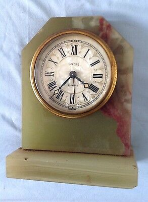 Vintage EUROPA Wind-up Marble/Stone Mantle Alarm Clock  - German