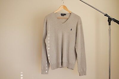 Polo Ralph Lauren Grey Pima Cotton V Neck Sweater Jumper Pull Over $229 Size (M)