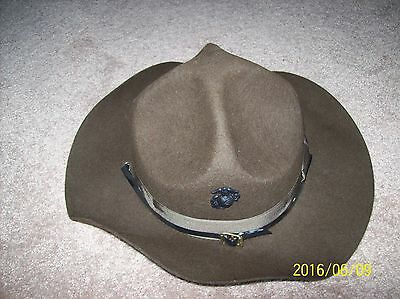 USMC Drill Instructor Campaign Hat - Size 7 1/4 Hardly Used ,  With USMC Pin