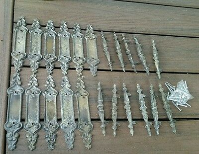 11 Antique Drawer or Door Pulls Handles Victorian Back Plates Old Fancy Metal